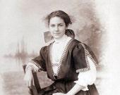 vintage photo Teen Girl in Beautiful Dress Check Hair Bow RPPC