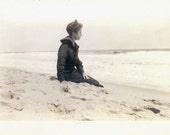 vintage photo 1915 Woman in Contemplation at the Ocean