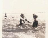 vintage photo Bathing Beauties Splash in Ocean