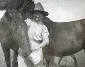 vintage photo Kate and her Horses Nell and Sus 2 photos