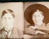 vintage photo 2 gem miniature Man with hat