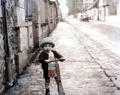 French Boy on Scooter Tinted Vintage Greeting Card