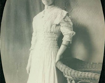 Chicago young Lady long Smocked dress original vintage photo