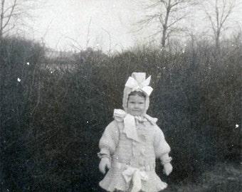 1911 Little Girl Knit Dress Bonnet Bows Winter Fashion original vintage photo