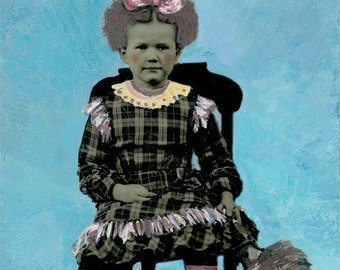 Feather Duster Annie Little Girl Tintype Greeting Card
