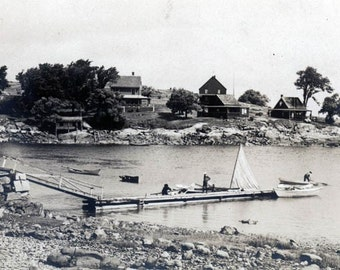 Rocky EAstern Seashore w Sailboats and Homes 1903 Scenic original vintage photo