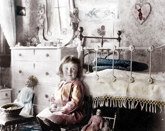 Lillie w Her Dolls in Victorian Bedroom Little Girl Dream come true Fine ARt photograph vintage photograph
