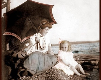 Little Girl Day at Beach with Grandma fine art tinted vintage photo