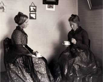 Vintage Photo Victorian Women Drink Tea for Two Photograph Print