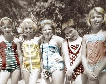 Hanging Out with The Girlfriends Bathing Suit Girls w CAmera vintage photo greeting card Summer Camp vintage Swimsuit 1950s