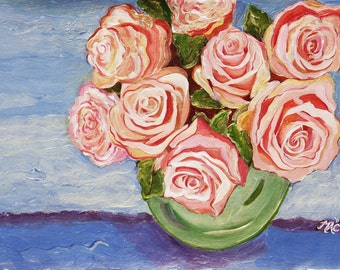 Pink ROses in Vase Fine Art Photo of Painted photograph