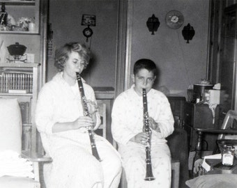 Brother and Sister Playing Clarinets in Pajamas vintage photo