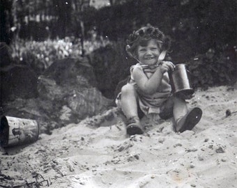 1927 Little Girl in Sand w Sand Pail