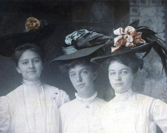 three Beauty YOung WOmen Wear Fancy HAts tinted Vintage photo