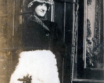 Young Lady w Velvet Hat and Holly christmas decorated Muff