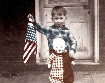 PAtriotic Little Boy w Flag and Clown Doll