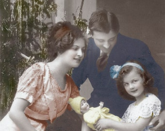 vintage photo Family Little Girl w New Doll Christmas