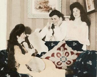 Girls Night Out Banjo Music 1910 tinted fine art photograph
