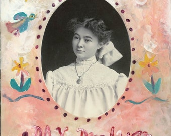 Day Dreamer Young Lady  Folk Art Encaustic Painted Cabinet Painted photo original