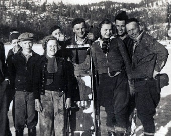 Sledding is Fun Happy Cute Group out in Snow w Sled vintage photo