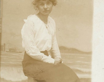 1918 Young WOman faux backdrop  vintage photo