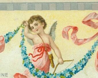 Vintage Valentine Cupid Bow Arrow Quiver Angel postcard