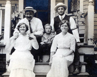 Group Straw Hats AMericana Family on Porch vintage photo