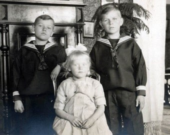 Girl and Sailor Shirt Boys  vintage photo