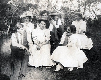 vintage photo 1903 Teenage Girls and Boys Acton California