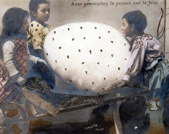 Children w Giant Egg in CArt tinted Glittered French vintage photo postcard carte postale