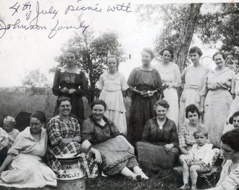 4th of July picnic with Johnson Family all WOmen vintage photo