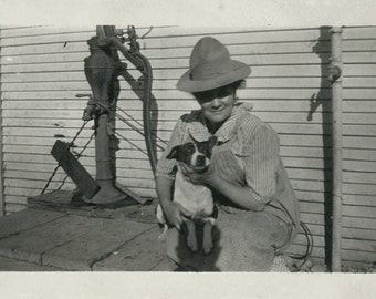 vintage photo LAdy w dog by Water Pump photograph