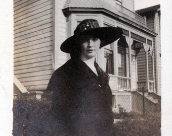 vintage photo Woman in Big Hat by Victorian Home photograph