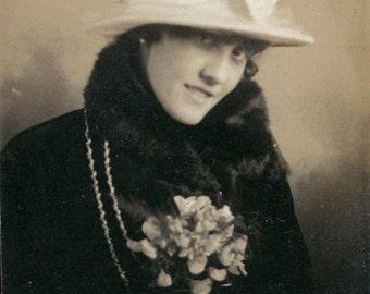 vintage photo Woman Flower Corsage Hat Fur Coat Gem Miniature photograph