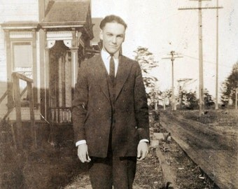 Young HAndsome Teen Guy in Suit by wooden Sidewalk 1918