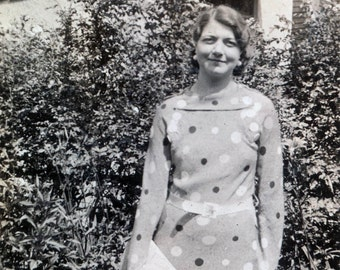 vintage photo Polka Dot Dress Woman w Purse
