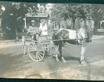 vintage photo Horse CArt Couple Starting for the Mail