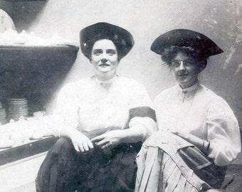 vintage photo Women in Antique Pottery Barn Albumen photograph