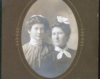 vintage photo Beautiful Mother and Daughter Gingers cabinet