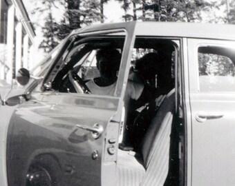 vintage photo Silhouette boy teen girl in car 1945