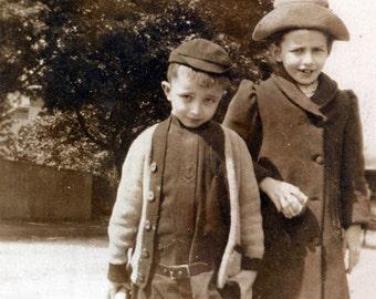vintage photo Cute Siblings on Way to School
