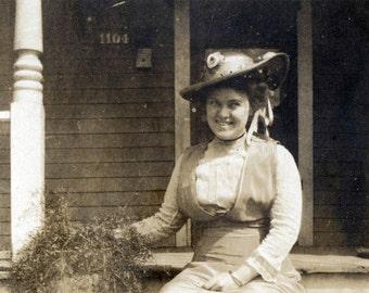vintage photo Spring Bonnet Lady Portrait 1911