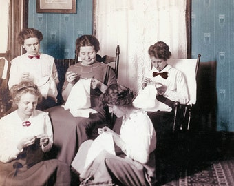 Sewing Circle Embroidery Women Sit Sewing doing Needlework 1910 Color Photography Print