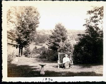 vintage photoWOman sits in Adirondack Chair in Garden Birdbath