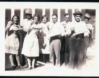 vintage photo 1920 Men women EAting WATermelon Slices