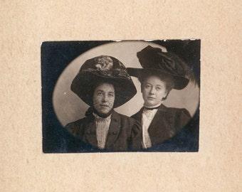 Two Women Big Hats Gem miniature on Mat vintage photo
