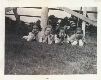 vintage photo 4 Girls faces in hands in grass CUTE