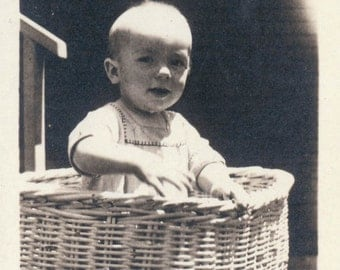 vintage photo Baby in a Basket