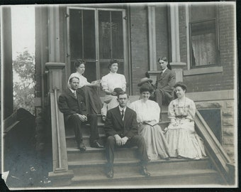 vintage photo Group Men and Women REad books on Back Porch 1910