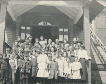 vintage photo RPPC Oregon School children